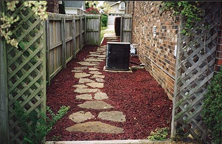 Rubber Mulch Amp Stone Walkway Gardening And Outdoor Awesomeness Mulch Landscaping Backyard