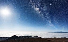 Обои звёзды, Космос, блики, планета, галактика