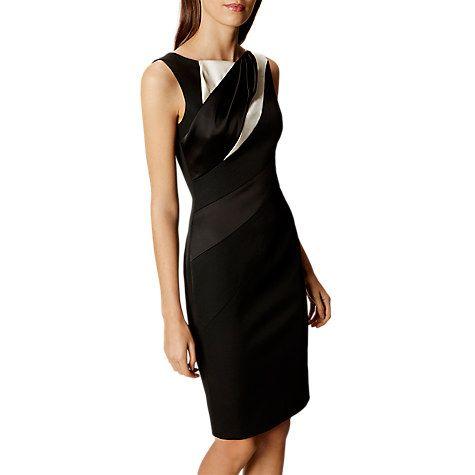 Buy Karen Millen Diagonal Seam Pencil Dress, Black/White Online at johnlewis.com