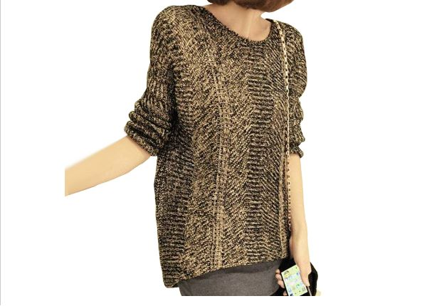 Woman's Loose Gold Thread Sweater $33.99 USD