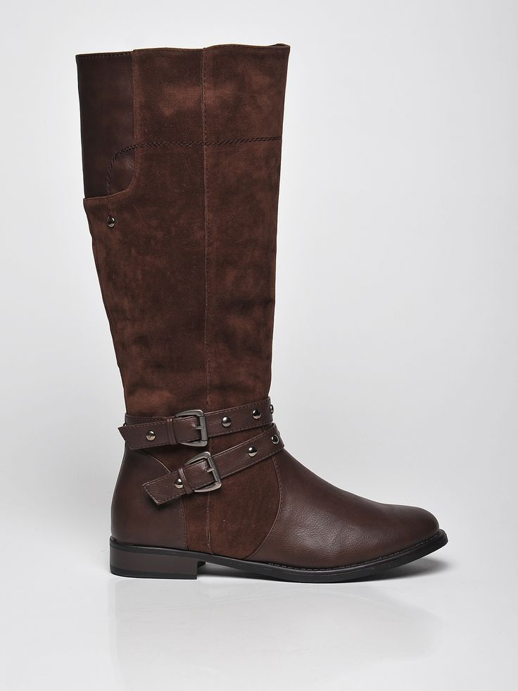 Top Secret brown low heel boots with metallic spikes, metallic spikes, buckles accessories, slightly round toe tip, low heel, insole material: fabric textil, upper material: ecological leather, women`s boots