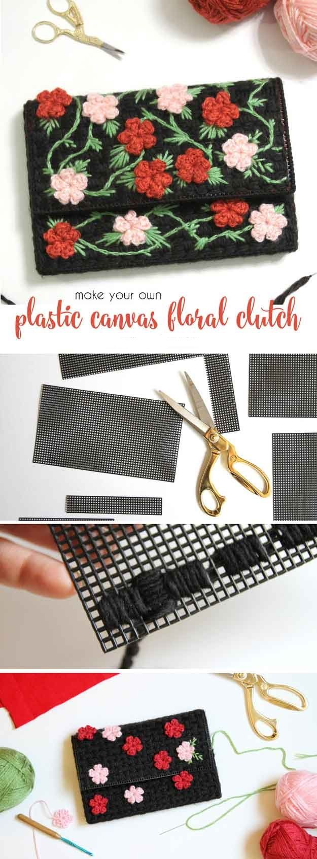 Diy Plastic Canvas Floral Clutch