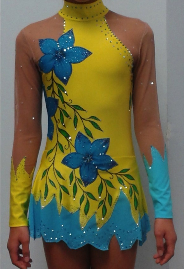 Rhythmic Gymnastics Leotard   eBay ~ Wow, would this ever stand out on the ice! Airbrushing on the skirt would soften the line.