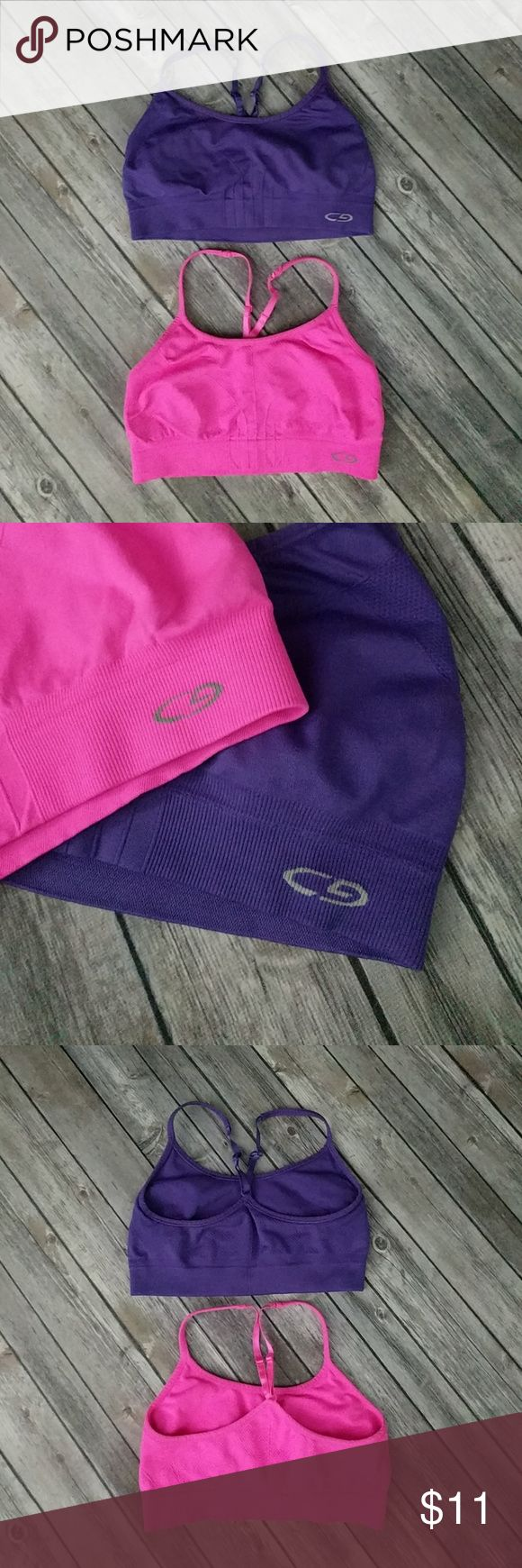 "C9 by Champion Sports Bras Bundle 1 pink and 1 purple racerback sports bras in great used condition. Soft and stretchy. Bust pink 11 1/2"". Bust purple 11 3/4"". Champion Intimates & Sleepwear Bras"