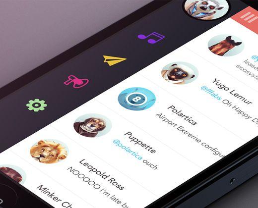 lister social feed iphone flat ui