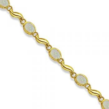 Bezel-Set Oval Opal Bracelet in 14K Yellow Gold (7x5 mm)-Allurez.com