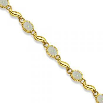 Bezel-Set Oval Opal Bracelet in 14K Yellow Gold (7x5 mm)-Allurez.com