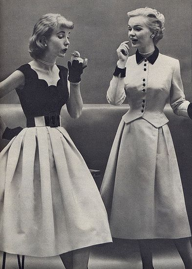 1950- like the pleating on the right skirt