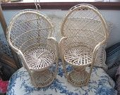 Doll Furniture, Wicker Doll Furniture, Vintage Doll Wicker Doll Fan Peacock Chair, Peacock Chairs, Doll Chairs, Dolls, Toy Chairs, :)s*