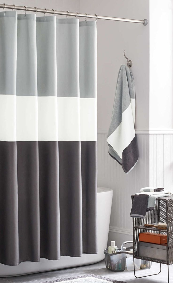13 ideas for creating a more manly masculine bathroom a simple color blocked shower curtain is both timeless and gender neutral