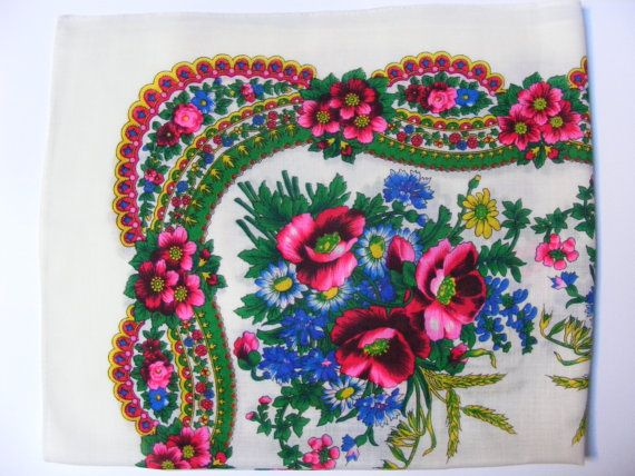 Gypsy Shawl with Rose and Floral Design - $20 - This uniquely designed, hand-sewn scarf stretches 75 by 71 cm and displays roses, a traditional motif in the Roma culture.