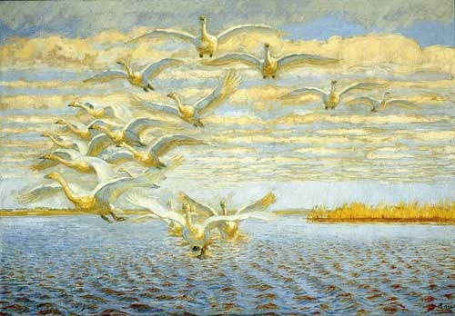 Johannes Larsen.    The whooper swans takes off