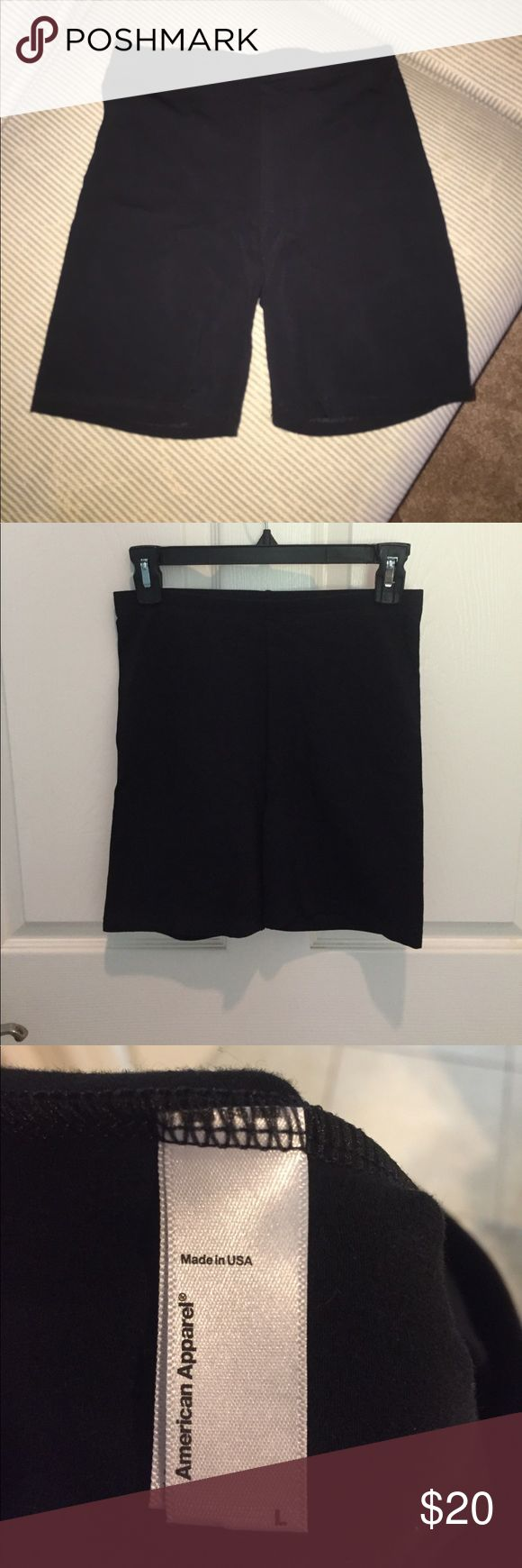 American Apparel black spandex shorts Mid-thigh length black spandex shorts by American Apparel, new and never worn! Did not come with tags - ordered online American Apparel Other