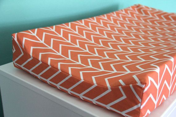 coral chevron contoured changing pad cover