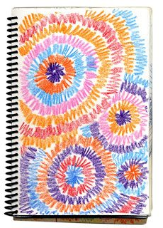 Art Projects for Kids: Art Journal Fireworks Drawing--This is an exercise in radial drawing, but it makes a nice fireworks image when you fill up the page. Love this idea!