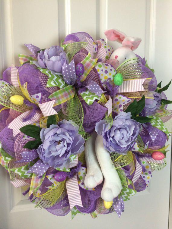 Guirnalda de conejito de Pascua corona de Pascua lavanda