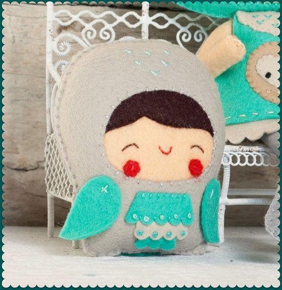 PDF Owl child Plush Doll Pattern Softie Pattern Soft by Noialand, $3.50