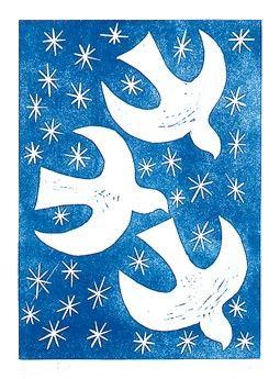 Snow Birds Linocut Print by glynwestdesign on