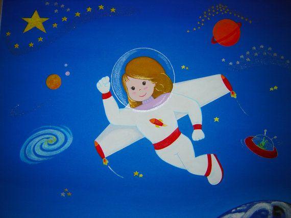 Custom Acrylic Painting Personalized Astronaut, 20''x16''.