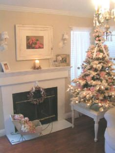 Shabby Chic Cottage Style Decorating For Christmas! I used to have a tree like this on a table with lace at the base, tiny soft pink and cream lights and victorian-style ornatments.  But, the lights burned out and no one sells them now! So the tree is just not the same with only white lights.