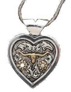 (MFW90480) Western Silver Heart Necklace with Gold Longhorn