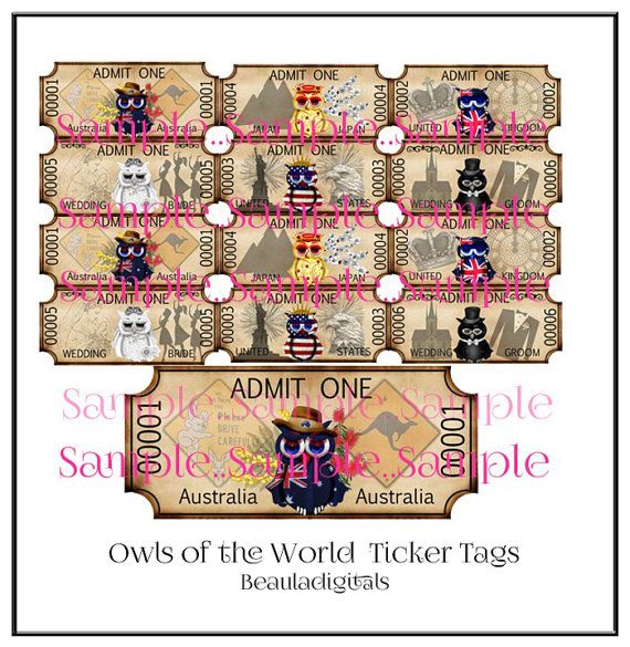 Owls of the World Ticker Tags   Instant Download by Beauladigitals