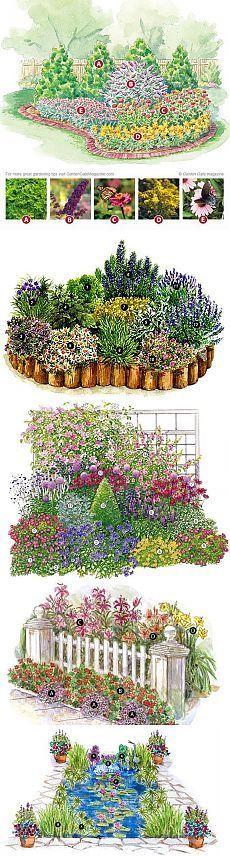 Хочу поделиться интересным оформлением- Клумб и Прудов. 1.План сада. Это план садика, который привлечет в ваш сад бабочек.  2.Клумба с пряными травами. 3.Украшаем забор. 4.План водного сада.