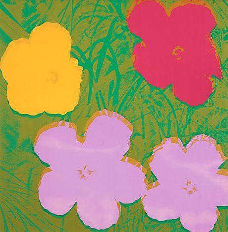 "ANDY WARHOL, ""Flowers"". Bukowskis. EST: 200 000 SEK. barnebys.se"