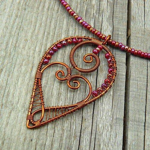 Inside heart wire pendant