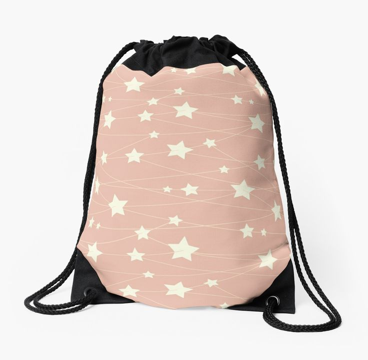 Hanging Stars - ashy pink by LunaPrincino  #redbubble #print #prints #art #design #designer #graphic #clothes #for #women #men #drawstring #bag  #bags #apparel #shopping #fashion #style #pattern #texture #pretty #cute #beautiful #girlish #dreamy #hanging #stars #ashy #pink #and #cream #beige #fantasy #starry #pale #pastel #magic #gift #idea #ideas #trend