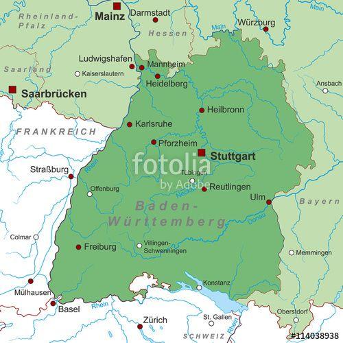 Vektor: Bundesland Baden-Württemberg - Landkarte (in Grün)