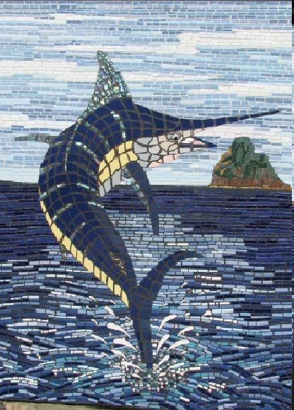 Pat George Mosaic Artist:  Blue Marlin off Sail Rock Northland NZ