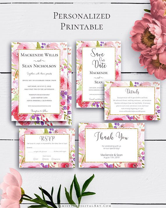 Blush Printable Wedding Set with lovely and charming watercolor floral design in boho and vintage wedding style.Build your suite - choose your card combination by Amistyle Digital Art on Etsy