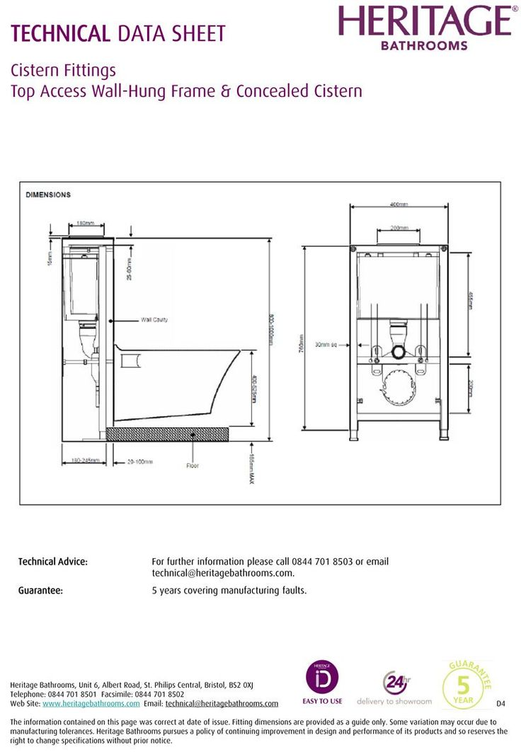 CFC34 - Heritage Top Access Wall Hung WC Frame & Concealed Cistern