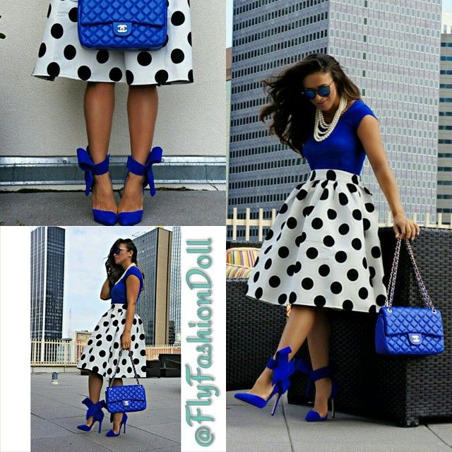 love the blue top and polka dot skirt. the shoes are adorable but too high