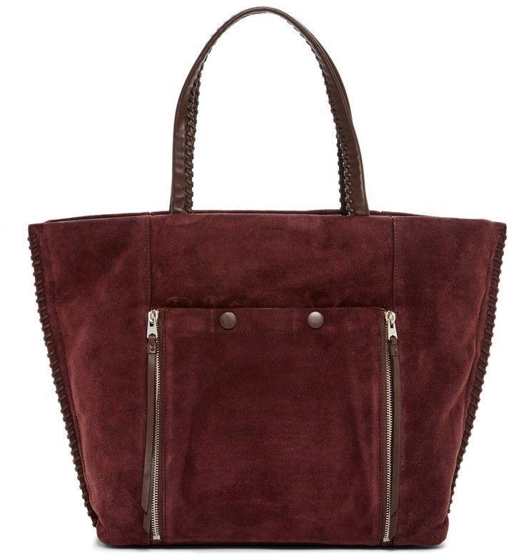 NWT ALLSAINTS $378 Fleur De Lis Leather East/West Tote Handbag In Prune #AllSaints #Tote