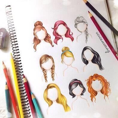 Disney Princess hairstyles.  I would love to learn how to properly draw with color pencils. May be good practice