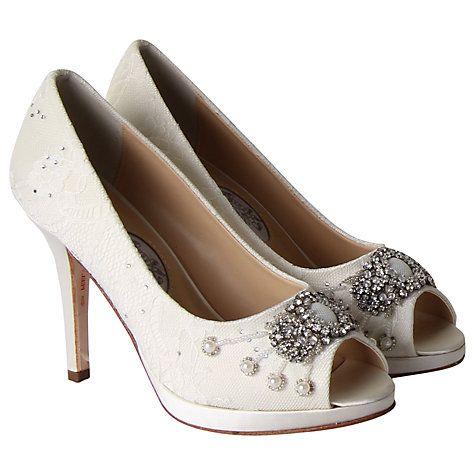 Buy Rainbow Club Devotion Leather Peep Toe Court Heels, Ivory Online at johnlewis.com