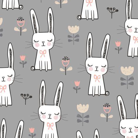 Dreamy Bunny Rabbit on Grey fabric by caja_design on Spoonflower - custom fabric