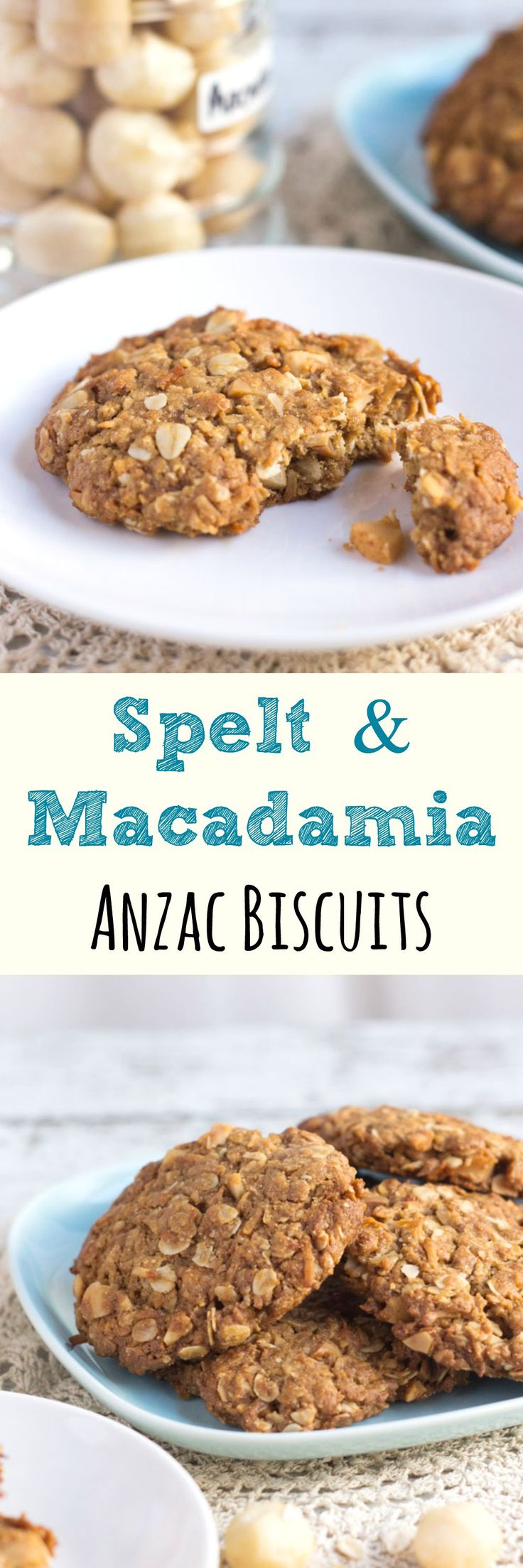These Spelt and Macadamia Anzac Biscuits contain less sugar than the traditional recipe, and have the addition of wholemeal spelt and crunchy macadamias.
