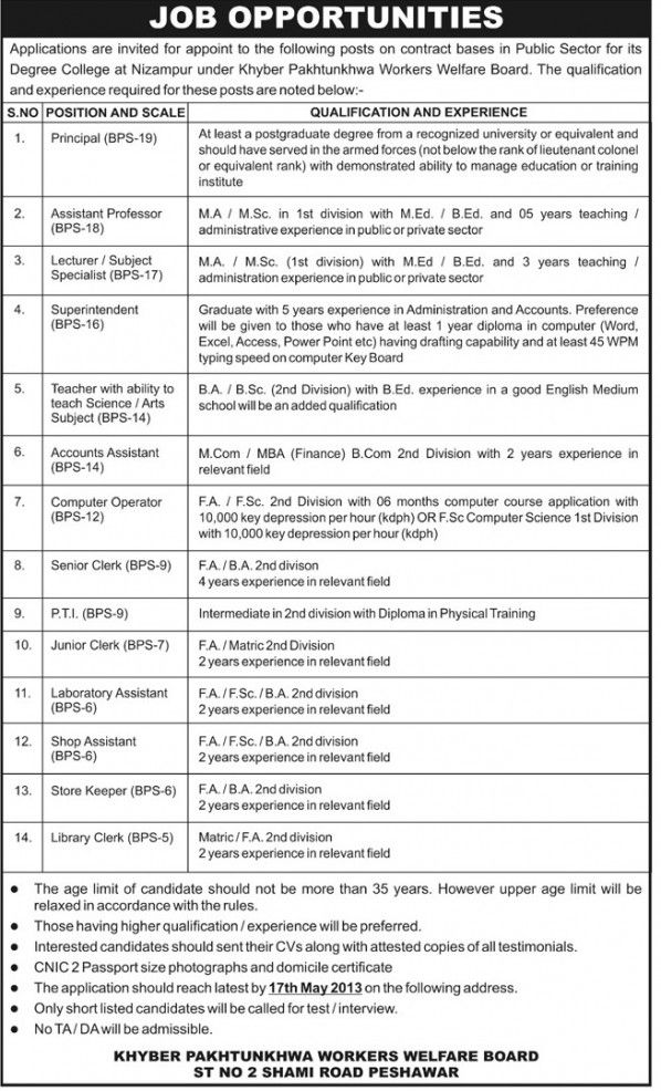 Superintendent,Lecturers,Principal Jobs in Public Sector KPK