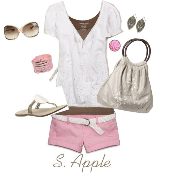 """Love, Love, Love"" by sapple324 on Polyvore: Pink Summer, Pink Shorts, Dreams Closet, Capris Shorti Outfits, Color, Outfits Accessories, Cute Summer Outfits, Polyvore, Create"