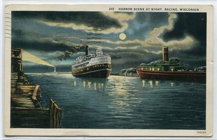 Steamer Harbor Scene Night Racine Wisconsin 1935 postcard