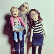 Personalised handmade fabric dolls, family portrait, portrait dolls, embroidery