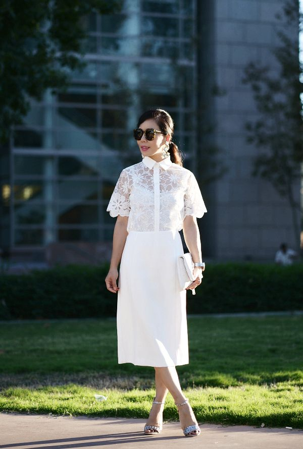 1st Day of Autumn: Lace Top and White Pencil Skirt
