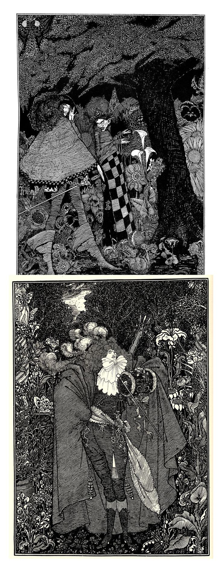 Top : 'What am I to do in the tree?' From The Tinder Box. Fairy tales by Hans Christian Andersen. Harry Clarke 1916. Bottom: 'Abbe Fanfreluche'. From 'Under the Hill'. Aubrey Beardsley 1895