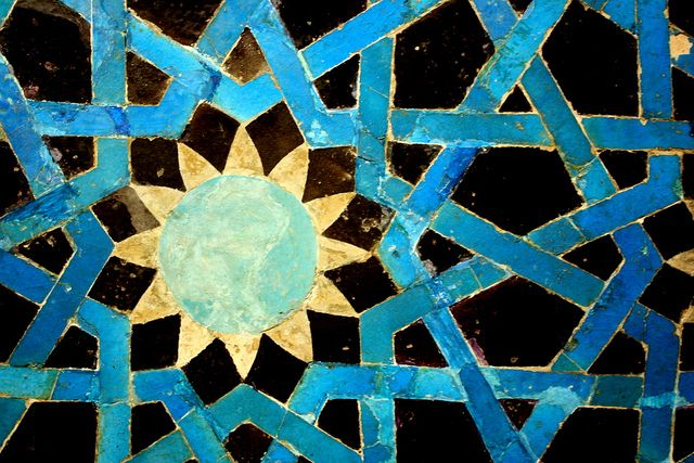Example of geometric patterning and stunning blue color. Tile work in the Islamic Arts Museum | Flickr - Photo Sharing! Dr. Emmie-Poo, taken on May 9, 2010. accessed March 23, 2014