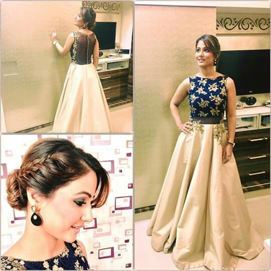 Adorable Hina khan in crop top & skirt | color combo #outfit