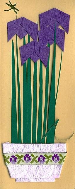 handmade card .... origami .. bowl of Iris (Momotani)
