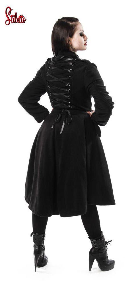Poizen Industries Cappotto stile militare gotico lacci corsetto
